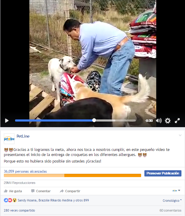 In this video the total amount of people reached was very high, 36,059 people stumbled with the video, 29k watched it and 1,241 people engaged with it.